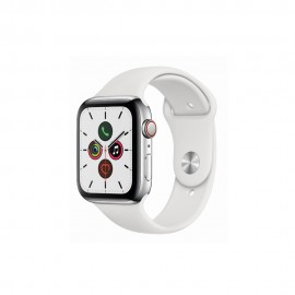 [Pre-Order] Apple Watch Series 5 GPS + Cellular, 44mm Stainless Steel Case with White Sport Band
