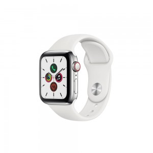 [Pre-Order] Apple Watch Series 5 GPS + Cellular, 40mm Stainless Steel Case with White Sport Band