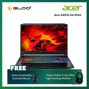 "Acer AN515-44-R1AZ Notebook (Nitro5,Ryzen7-4800H,8GB,512G SSD,GTX1650 4G,15.6""FHD,W10,Black Red) [FREE] Razer Mouse + Headset"