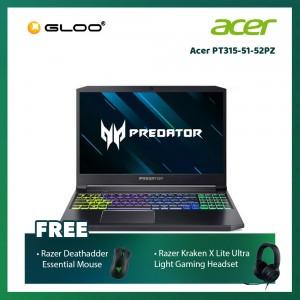 "Acer PT315-51-52PZ Notebook (PredatorTriton 300/i5-9300H/4G/512G/NV GTX1650 4GB/15.6""FHD/W10H/Black)[FREE] Razer Mouse + Razer Gaming Headset"