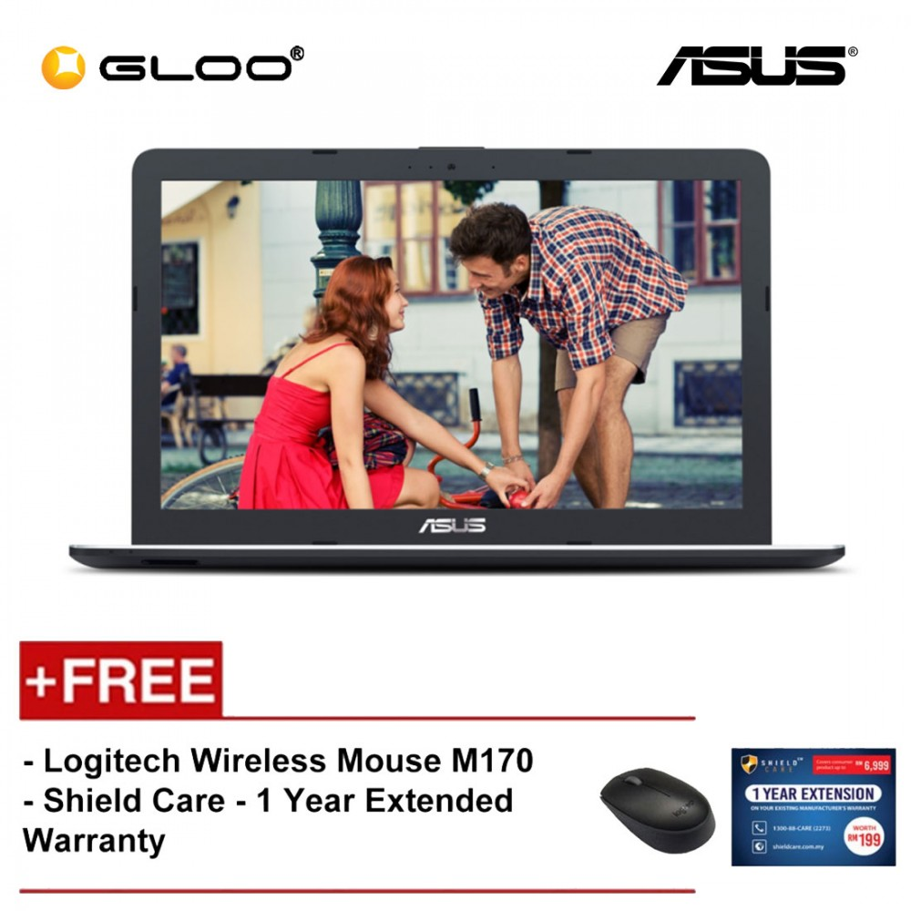 """ASUS X441B-AGA308T Laptop (A4-9125,4GB,500GB,14"""",W10,BRW) [FREE] Logitech Wireless Mouse M170 + Shield Care 1 Year Extended Warranty"""