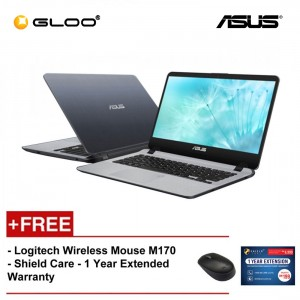 "ASUS Vivobook A407U-ABV321T (i3-8130,4GB,1TB,14"",W10,GRY) [FREE] Logitech Wireless Mouse M170 + Shield Care 1 Year Extended Warranty"