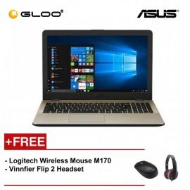 "Asus Vivobook A542U-FDM150T (Intel i5-8250U,1TB,4GB,15.6"",W10,NVIDIA MX130 2GB,Gold) [FREE] Logitech Wireless Mouse M170 + Vinnfier Flip 2 Headset"
