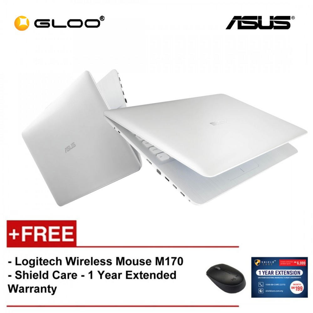 """ASUS X441M-AGA002T Laptop (N4000,4GB,500GB,14"""",W10,SIL) [FREE] Logitech Wireless Mouse M170 + Shield Care 1 Year Extended Warranty"""