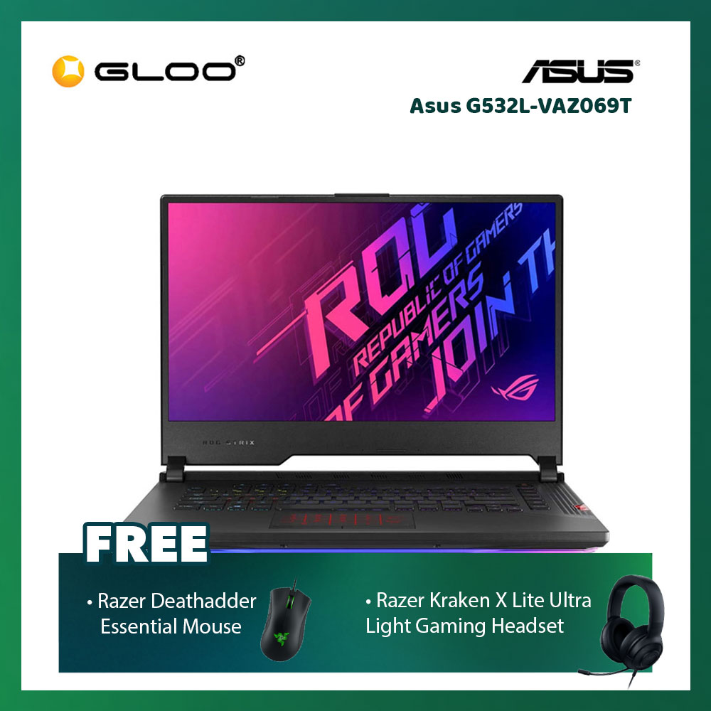 "Asus G532L-VAZ069T Notebook (i7-10875H,16GB,1TB SSD,RTX2060 GDDR6 6GB,15.6"" FHD,Win10 H,Metal Black) [FREE] Razer Mouse + Razer Gaming Headset"