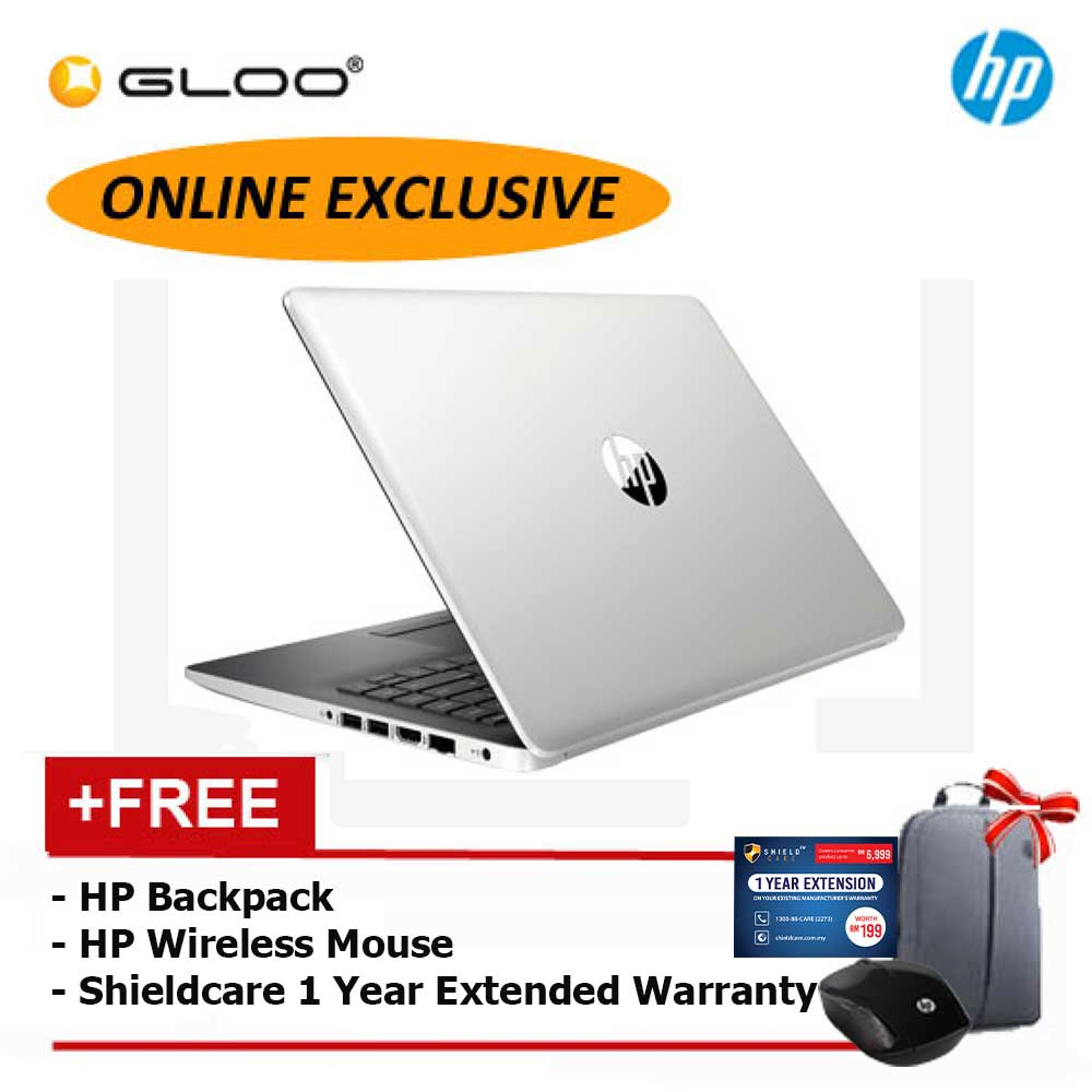 NEW [Exclusive] HP 14-ck0124TU Laptop (i3-8130 4GB 256GB SSD UMA)(Silver) [FREE] HP Wireless Mouse + HP Backpack + Shieldcare 1 Year Extended (Only Available Online)