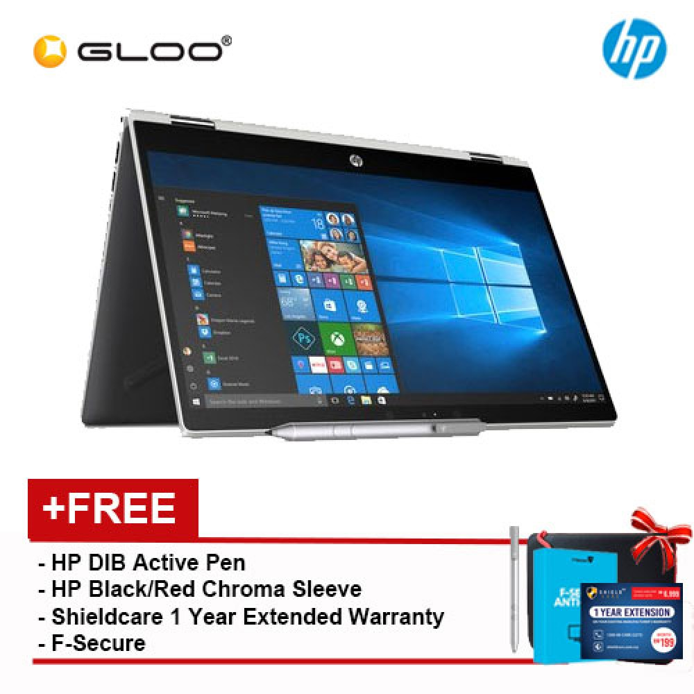 "NEW HP Pavilion x360 14-cd1015tx 14"" FHD Flip Laptop (i5-8265U, 1TB + 8GB NAND, 4 GB, NVIDIA MX130 2GB, W10) - Mineral Silver [FREE] HP DIB Pen + HP Chroma Sleeve + Shieldcare 1 Year Extended Warranty + F-Secure 1 Year Client Security"