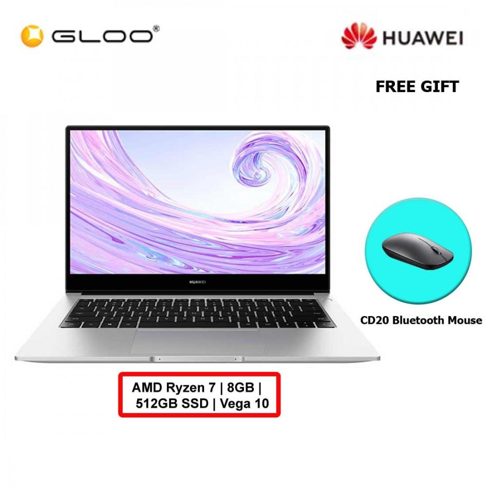 Huawei MateBook D 14 (Mystic Silver) R7/8GB/512GBSSD/Vega10 [FREE Huawei CD20 Bluetooth Mouse Black]