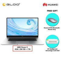 Huawei MateBook D 15 (Mystic Silver) 15.6 AMD Ryzen 5 - 3500U/8GB/256GB+1TB/W10 FREE Huawei AF30 Bluetooth Mouse Grey + HP Deskjet Ink Advantage 2135 AIO (Black ink bundle)