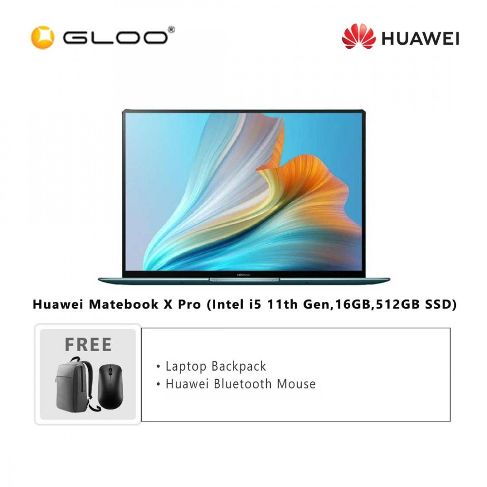 Huawei Matebook X Pro (Intel i5 11th Gen,16GB,512GB SSD)53011TEE + FREE Huawei CD60 Matebook Series Laptop Backpack Grey + FREE Huawei CD20 Bluetooth Mouse Black