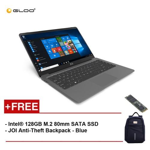 """JOI Book 100 A147DG 14"""" FHD (Cel N3450, 4GB, 32GB, Intel HD 500, W10) - Dark Grey [Free Intel® 128GB M.2 80mm SATA SSD + JOI Anti-Theft Backpack - Blue]"""