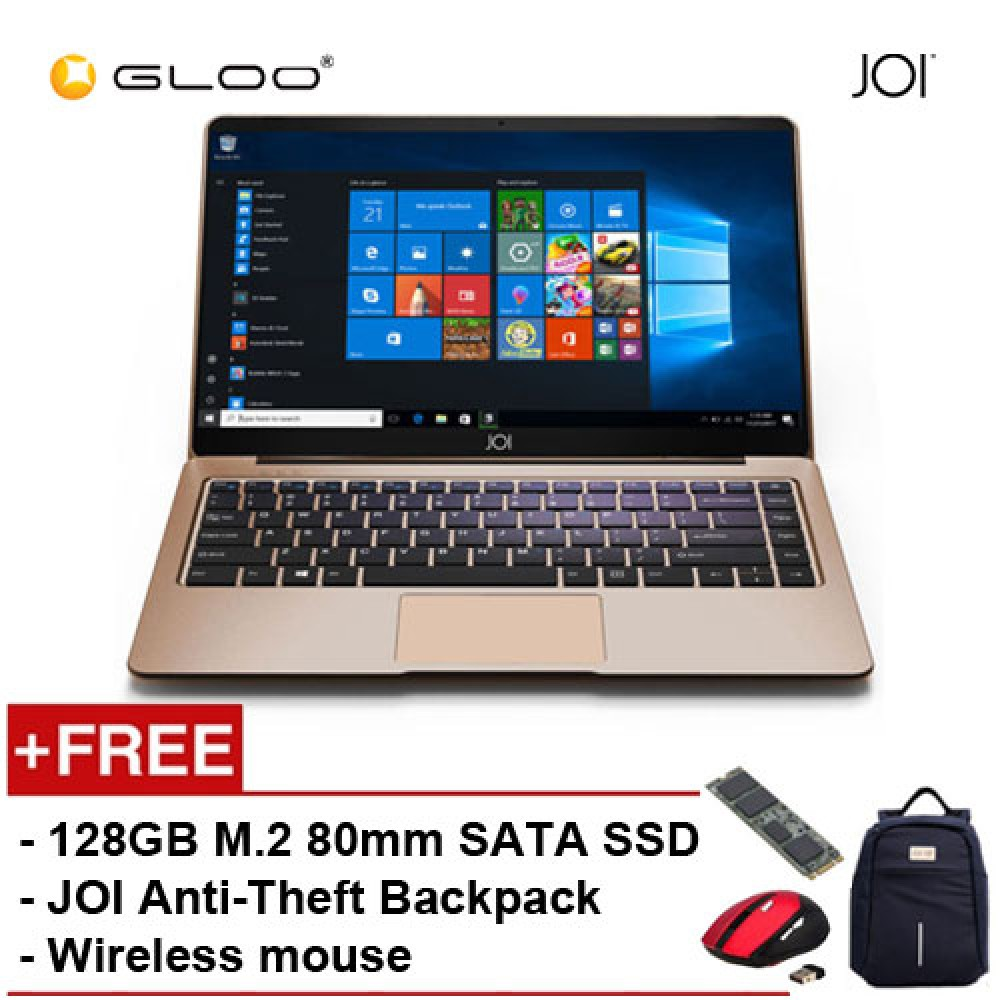 """JOI Book 150 - AD-L150G Cel N4100, 4+32GB, 14"""" FHD, W10 Home, Gold {Free Intel® 128GB SSD + JOI Anti-Theft Backpack - Blue + Wireless Mouse + McAfee Internet Security 1User }"""