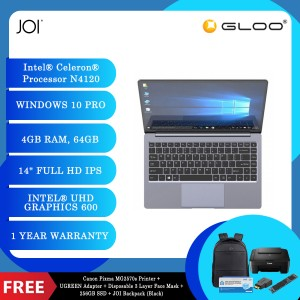 "JOI Book 155 Pro (N4120,4GB+64GB,14"" FHD,W10Pro) + Canon Pixma MG2570s Printer + UGREEN Mini HDMI Male To HDMI Female Adapter - 20101 + Disposable 3 Layer Face Mask 1 Box/50pcs + 256GB SSD + JOI Backpack (Black)"