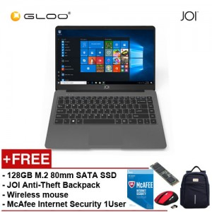 """JOI Book 150 - AD-L150DG Cel N4100, 4+32GB, 14"""" FHD, W10 Home, Dark Grey {Free Intel® 128GB SSD + JOI Anti-Theft Backpack - Blue + Wireless Mouse + McAfee Internet Security 1User }"""