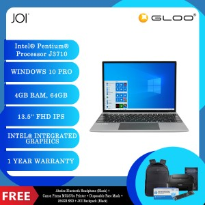 "JOI Book 200 Pro (Pentium J3710,4GB,64GB,13.5"",W10Pro,GRY) + Abodos Bluetooth Headphone Black + Canon Pixma MG2570s Printer + Disposable 3 Layer Face Mask + 256GB SSD + JOI Backpack (Black)"
