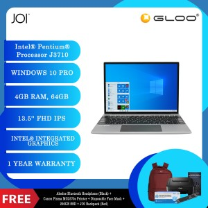 "JOI Book 200 Pro (Pentium J3710,4GB,64GB,13.5"",W10Pro,GRY) + Abodos Bluetooth Headphone Black + Canon Pixma MG2570s Printer + Disposable 3 Layer Face Mask + 256GB SSD + JOI Backpack (Red)"