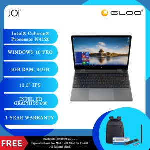 "JOI Book Touch 330 Pro (N4120,4GB+64GB,13.3"" FHD,W10Pro) + 256GB SSD + UGREEN USB-C To 3*USB 3.0 A+HDMI+VGA+RJ45 Gigabit+SD/TF+AUX3.5mm+PD Converter Adapter + Disposable 3 Layer Face Mask + JOI Active Pen Pro 330 SV-P330 + JOI Backpack (Black)"