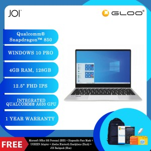 "JOI Book SK3000 (Qualcomm SDM850,Kryo385,4GB,128GB SSD,12.5"",W10Pro,LTE) + Microsoft Office 365 Personal (ESD) + Disposable 3 Layer Face Mask + UGREEN USB-C 3.1 male to USB 3.0 female adapter + Abodos Bluetooth Headphone Black + JOI Backpack (Blue)"