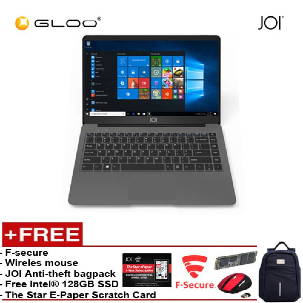 """JOI Book 150 – AD-L150DG Cel N4100, 4+32GB, 14"""" FHD, W10 Home, Dark Grey {Free 128GB SSD + Anti-Theft Backpack - Blue + Tinytech Wireless Mouse +F-secure + The Star E-Paper Scratch Card}"""