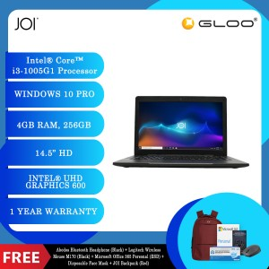 "JOI Classmate 30 (i3-1005G1, 4GB, 256GB SSD, Intel UHD Graphics 600, 14"" HD,W10Pro) + Abodos Bluetooth Headphone Black  + Logitech Wireless Mouse M170 - BLACK + Microsoft Office 365 Personal (ESD) + Disposable 3 Layer Face Mask + JOI Backpack (Red)"