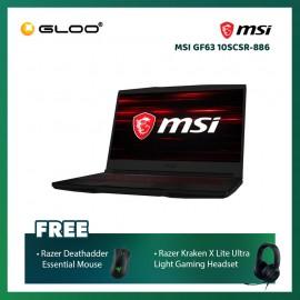 "MSI GF63 10SCSR-886 Notebook (i7-10750H,512GB SSD,8GB,GTX1650 Ti Max Q,W10 H,15.6"" FHD,Blk) [FREE] Razer Mouse + Razer Gaming Headset"