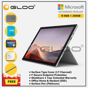 Microsoft Surface Pro 7 Core i5/8G RAM - 256GB Platinum - PUV-00012 + Surface Pro Type Cover LT Charcoal + Shield Care 1 Year + F-Secure 1 Year + Office Home & Student (ESD) + Surface Pen Platinum