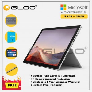 Microsoft Surface Pro 7 Core i5/8G RAM - 256GB Platinum - PUV-00012 + Surface Pro Type Cover LT Charcoal + Shield Care 1 Year + F-Secure 1 Year + Surface Pen Platinum