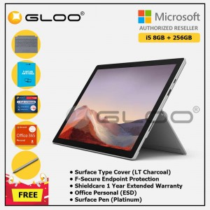 Microsoft Surface Pro 7 Core i5/8G RAM - 256GB Platinum - PUV-00012 + Surface Pro Type Cover LT Charcoal + Shield Care 1 Year + F-Secure 1 Year + Office 365 Personal (ESD) + Surface Pen Platinum