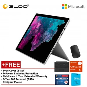 Microsoft Surface Pro 6 Core i5/8GB RAM - 256GB + Type Cover Black + Office 365 Personal (ESD) + Shieldcare 1 Year Extended Warranty + F-Secure EndPoint Protection + Designer Mouse