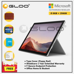 [Pre-order, ETA 9.12] Microsoft Surface Pro 7 Core i5/8G RAM - 256GB Platinum - PUV-00012 + Surface Pro Type Cover Poppy Red + Shield Care 1 Year + F-Secure 1 Year + Office Home & Student (ESD)
