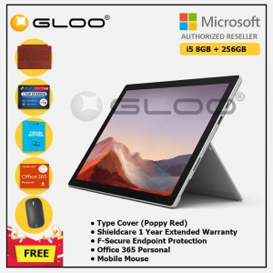 [Pre-order, ETA 9.12] Microsoft Surface Pro 7 Core i5/8G RAM - 256GB Platinum - PUV-00012 + Surface Pro Type Cover Poppy Red + Shield Care 1 Year + F-Secure 1 Year + Office 365 Personal (ESD) + Mobile Mouse Bluetooth Black