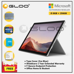 [Pre-order, ETA 9.12] Microsoft Surface Pro 7 Core i5/8G RAM - 256GB Platinum - PUV-00012 + Surface Pro Type Cover Ice Blue + Shield Care 1 Year + F-Secure 1 Year + Office Home & Student (ESD)
