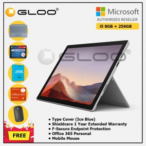 [Pre-order, ETA 9.12] Microsoft Surface Pro 7 Core i5/8G RAM - 256GB Platinum - PUV-00012 + Surface Pro Type Cover Ice Blue + Shield Care 1 Year + F-Secure 1 Year + Office 365 Personal (ESD) + Mobile Mouse Bluetooth Black