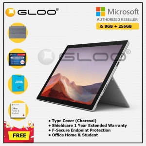 [Pre-order, ETA 9.12] Microsoft Surface Pro 7 Core i5/8G RAM - 256GB Platinum - PUV-00012 + Surface Pro Type Cover LT Charcoal + Shield Care 1 Year + F-Secure 1 Year + Office Home & Student (ESD)