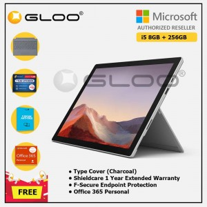 [Pre-order, ETA 9.12] Microsoft Surface Pro 7 Core i5/8G RAM - 256GB Platinum - PUV-00012 + Surface Pro Type Cover LT Charcoal + Shield Care 1 Year + F-Secure 1 Year + Office 365 Personal (ESD)