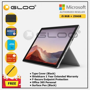 [Pre-order, ETA 9.12] Microsoft Surface Pro 7 Core i5/8G RAM - 256GB Platinum - PUV-00012 + Surface Pro Type Cover Black + Shield Care 1 Year + F-Secure 1 Year + Office 365 Personal (ESD) + Surface Pen Black