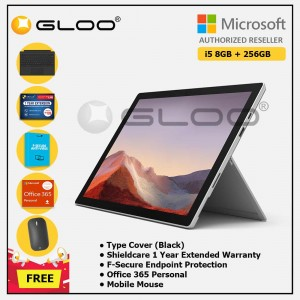 [Pre-order, ETA 9.12] Microsoft Surface Pro 7 Core i5/8G RAM - 256GB Platinum - PUV-00012 + Surface Pro Type Cover Black + Shield Care 1 Year + F-Secure 1 Year + Office 365 Personal (ESD) + Mobile Mouse Bluetooth Black