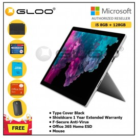 Microsoft Surface Pro 6 Core i5/8GB RAM -128GB + Type Cover Black + Office 365 Home (ESD) + F-Secure Endpoint Protection + Shieldcare 1 Year Extended Warranty + Designer Mouse