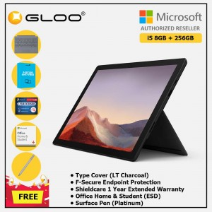 Microsoft Surface Pro 7 Core i5/8G RAM - 256GB Black - PUV-00025 + Surface Pro Type Cover LT Charcoal + Shield Care 1 Year + F-Secure 1 Year + Office Home & Student (ESD) + Surface Pen Platinum