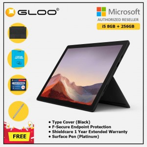 Microsoft Surface Pro 7 Core i5/8G RAM - 256GB Black - PUV-00025 + Surface Pro Type Cover Black + Shield Care 1 Year + F-Secure 1 Year + Surface Pen Platinum