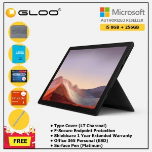Microsoft Surface Pro 7 Core i5/8G RAM - 256GB Black - PUV-00025 + Surface Pro Type Cover LT Charcoal + Shield Care 1 Year + F-Secure 1 Year + Office 365 Personal (ESD) + Surface Pen Platinum