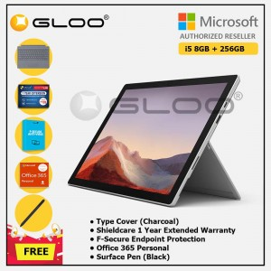 [Pre-order, ETA 9.12] Microsoft Surface Pro 7 Core i5/8G RAM - 256GB Platinum - PUV-00012 + Surface Pro Type Cover LT Charcoal + Shield Care 1 Year + F-Secure 1 Year + Office 365 Personal (ESD) + Surface Pen Black