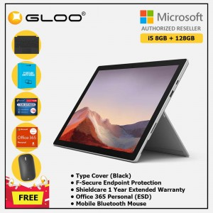 Microsoft Surface Pro 7 Core i5/8G RAM - 128GB Platinum - VDV-00012 + Surface Pro Type Cover Black + Shield Care 1 Year + F-Secure 1 Year + Office 365 Personal (ESD) + Mobile Mouse Bluetooth Black