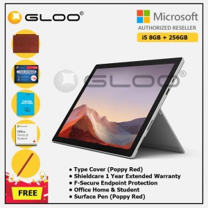 [Pre-order, ETA 9.12] Microsoft Surface Pro 7 Core i5/8G RAM - 256GB Platinum - PUV-00012 + Surface Pro Type Cover Poppy Red + Shield Care 1 Year + F-Secure 1 Year + Office Home & Student (ESD) + Surface Pen Poppy Red