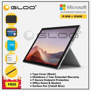 [Pre-order, ETA 9.12] Microsoft Surface Pro 7 Core i5/8G RAM - 256GB Platinum - PUV-00012 + Surface Pro Type Cover Black + Shield Care 1 Year + F-Secure 1 Year + Office Home & Student (ESD) + Surface Pen Cobalt Blue