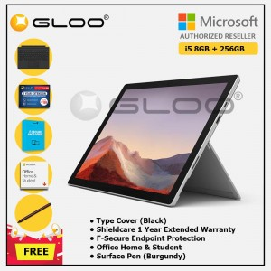 [Pre-order, ETA 9.12] Microsoft Surface Pro 7 Core i5/8G RAM - 256GB Platinum - PUV-00012 + Surface Pro Type Cover Black + Shield Care 1 Year + F-Secure 1 Year + Office Home & Student (ESD) + Surface Pen Burgundy