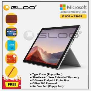 [Pre-order, ETA 9.12] Microsoft Surface Pro 7 Core i5/8G RAM - 256GB Platinum - PUV-00012 + Surface Pro Type Cover Poppy Red + Shield Care 1 Year + F-Secure 1 Year + Office 365 Personal (ESD) + Surface Pen Poppy Red