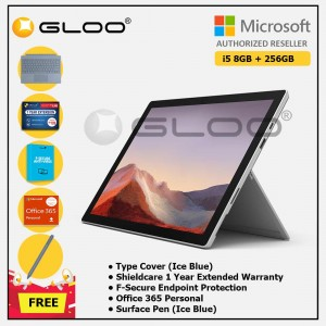 [Pre-order, ETA 9.12] Microsoft Surface Pro 7 Core i5/8G RAM - 256GB Platinum - PUV-00012 + Surface Pro Type Cover Ice Blue + Shield Care 1 Year + F-Secure 1 Year + Office 365 Personal (ESD) + Surface Pen Ice Blue