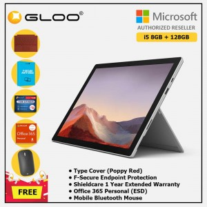 Microsoft Surface Pro 7 Core i5/8G RAM - 128GB Platinum - VDV-00012 + Surface Pro Type Cover Poppy Red + Shield Care 1 Year + F-Secure 1 Year + Office 365 Personal (ESD) + Mobile Mouse Bluetooth Black