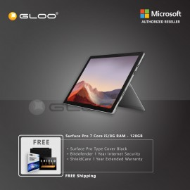 Microsoft Surface Pro 7 Core i5/8G RAM - 128GB Platinum - VDV-00012 + Surface Pro Type Cover Black + Shield Care 1 Year + F-Secure 1 Year [FOC RM100 Aeon Voucher 21/3/2020 - 31/3/2020 While Stock Last]